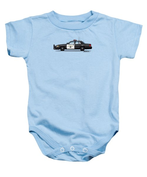 California Highway Patrol Ford Crown Victoria Police Interceptor Baby Onesie by Monkey Crisis On Mars