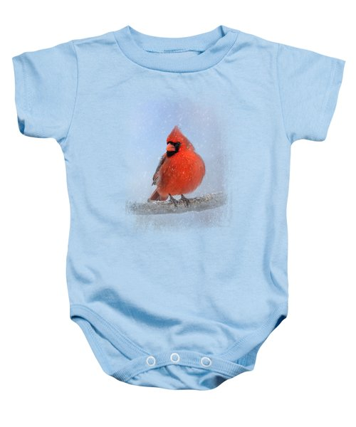 Cardinal In The Snow Baby Onesie by Jai Johnson