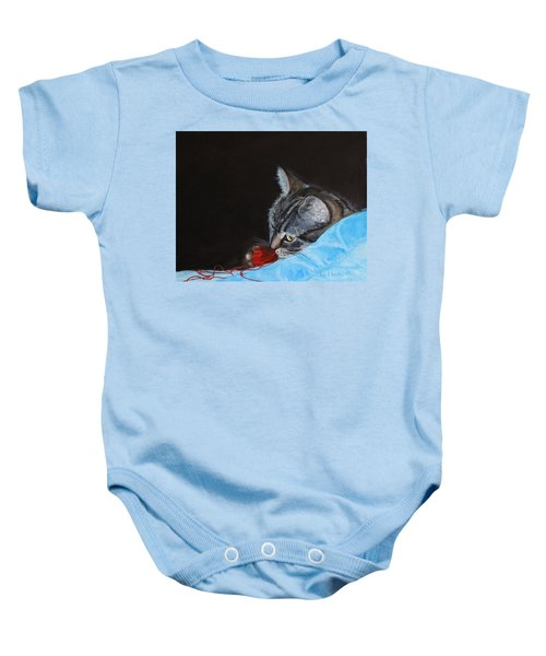Cat With Red Yarn Baby Onesie