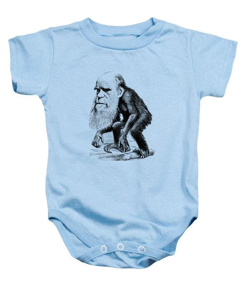 Charles Darwin As An Ape Cartoon Baby Onesie by War Is Hell Store