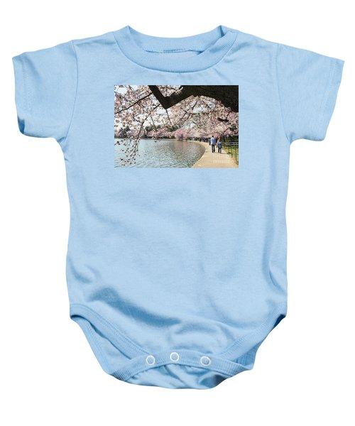 Cherry Blossom Stroll Around The Tidal Basin Baby Onesie