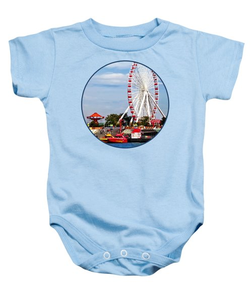Chicago Il - Ferris Wheel At Navy Pier Baby Onesie