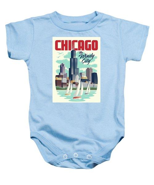 Chicago Retro Travel Poster Baby Onesie by Jim Zahniser