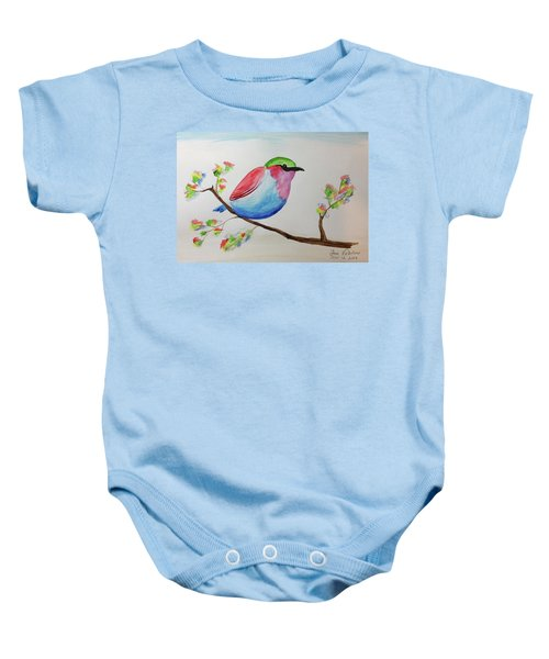 Chickadee With Green Head On A Branch Baby Onesie