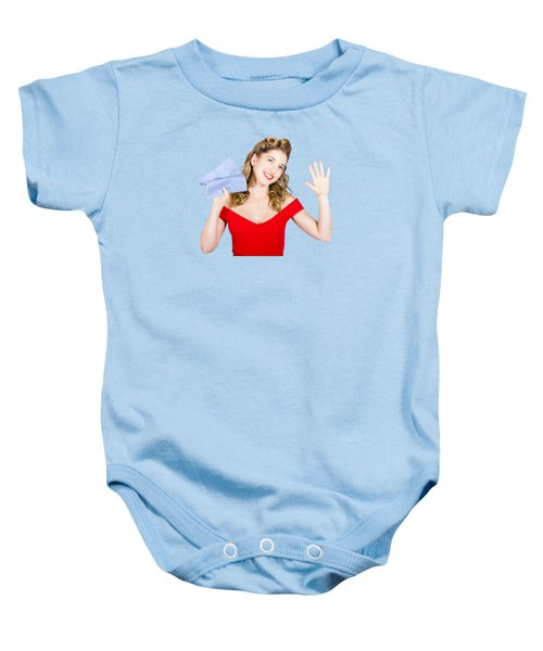 Cleaning Pin Up Maid Holding Washer Rag On White Baby Onesie