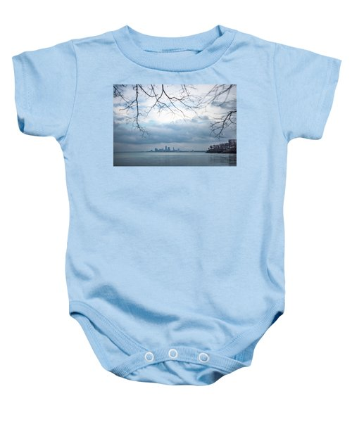 Cleveland Skyline With A Vintage Lens Baby Onesie
