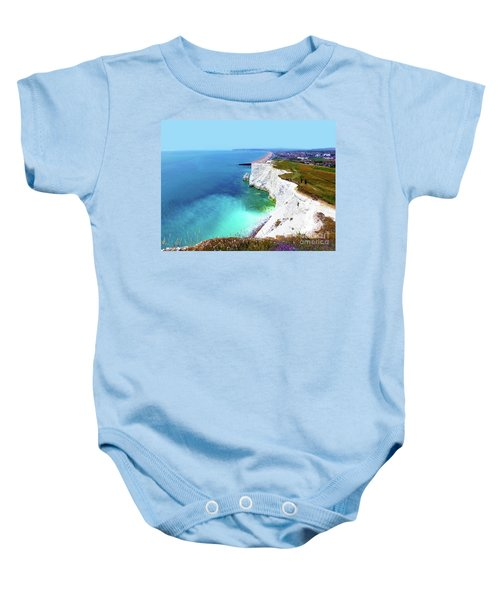 Baby Onesie featuring the photograph Cliff Landscape by Francesca Mackenney