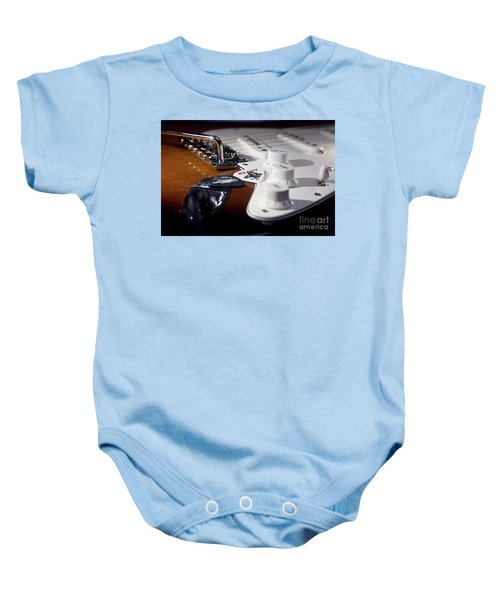 Baby Onesie featuring the photograph Close Up Guitar by MGL Meiklejohn Graphics Licensing