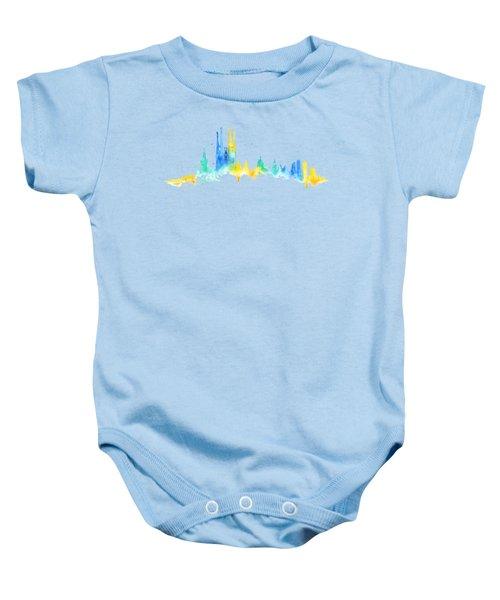 Color Barcelona Skyline 02 Baby Onesie by Aloke Creative Store