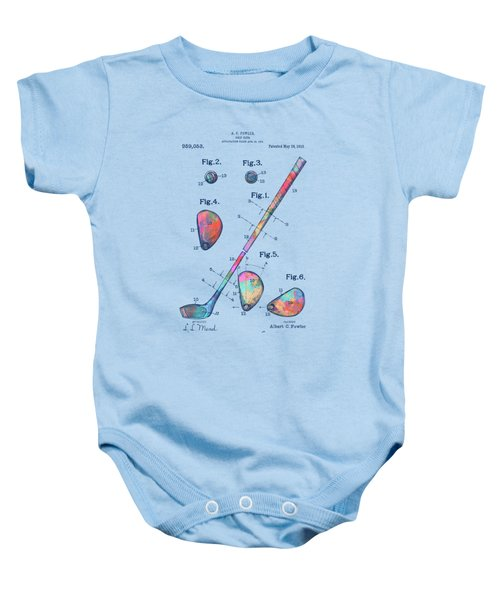 Colorful 1910 Golf Club Patent Baby Onesie