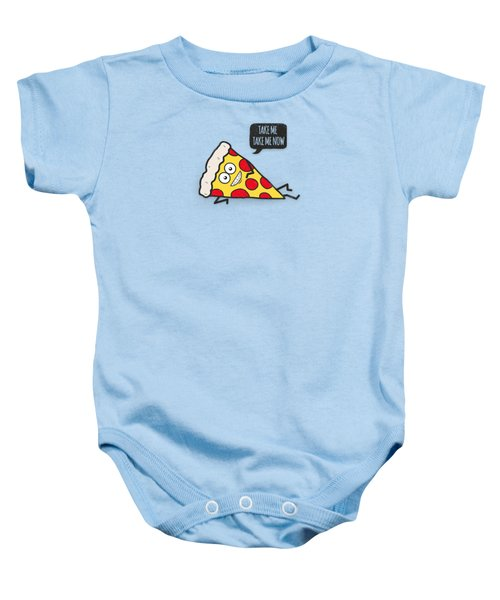 Cool And Trendy Pizza Pattern In Super Acid Green   Turquoise   Blue Baby Onesie