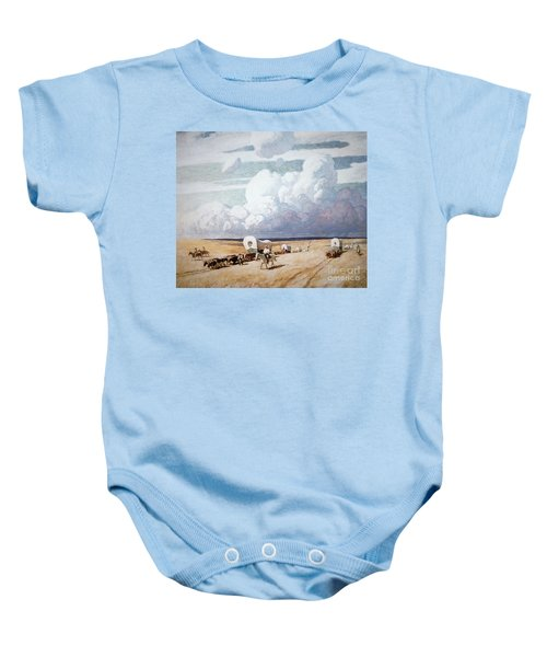 Covered Wagons Heading West Baby Onesie