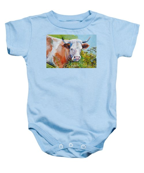 Cow With Horns Baby Onesie