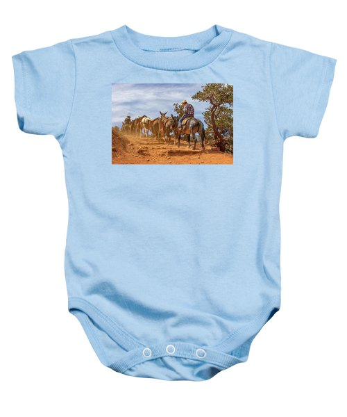 Cowboy And Mule Train On The South Kaibab Trail In The Grand Canyon Baby Onesie