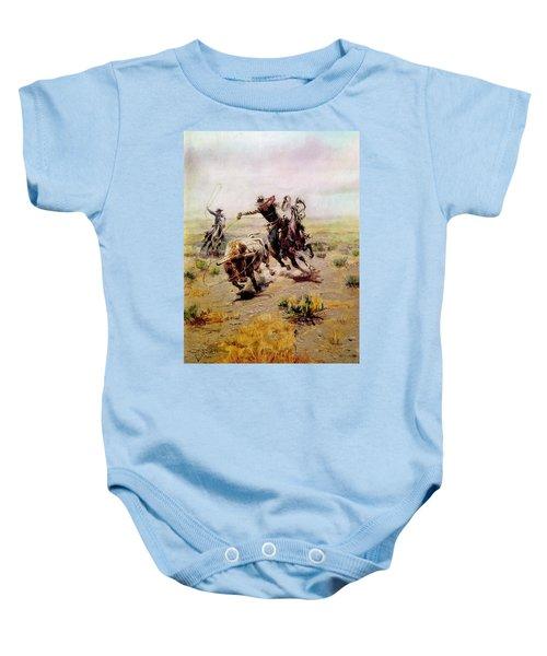 Cowboy Roping A Steer Baby Onesie