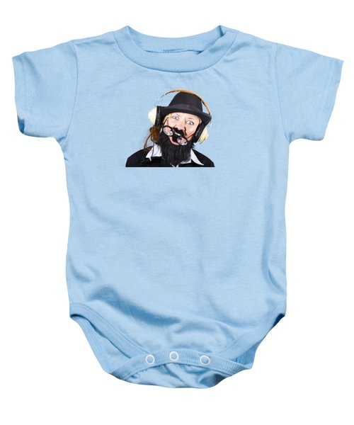 Baby Onesie featuring the photograph Crazy Woman With Headphones by Jorgo Photography - Wall Art Gallery