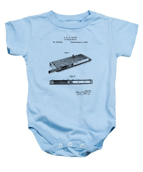 Cribbage Board 1879 Patent Art Transparent Baby Onesie