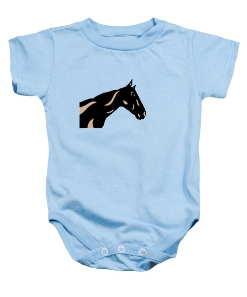 Crimson - Pop Art Horse - Black, Hazelnut, Island Paradise Blue Baby Onesie