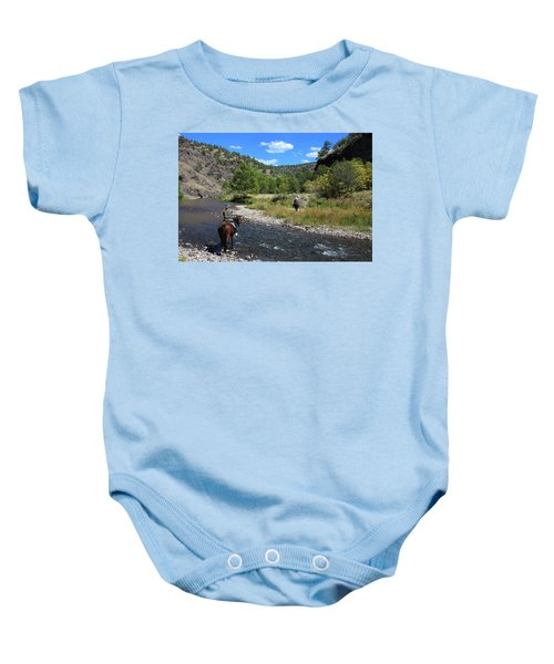 Crossing The Gila On Horseback Baby Onesie