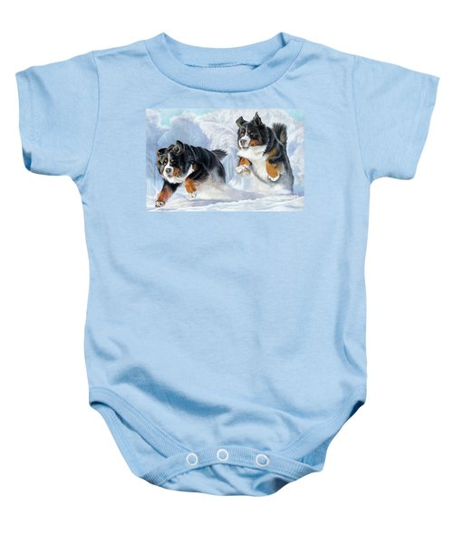 Baby Onesie featuring the painting Dashing Through The Snow by Donna Mulley