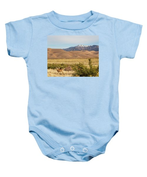 Baby Onesie featuring the photograph Deer And The Colorado Sand Dunes by James BO Insogna