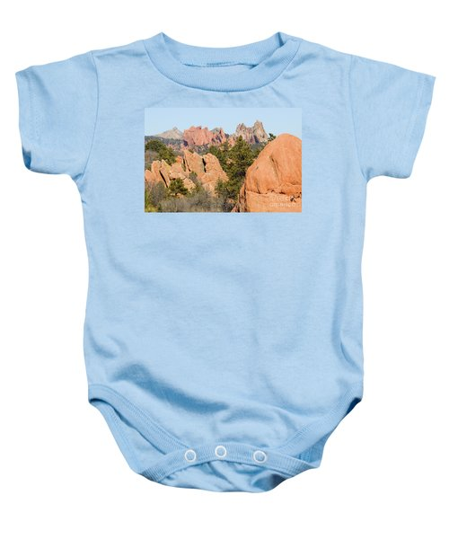 Distant Garden Of The Gods From Red Rock Canyon Baby Onesie