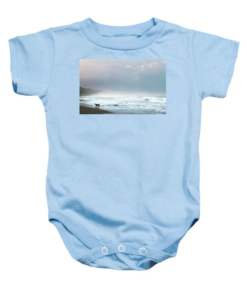 Dog On A Costa Rica Beach Baby Onesie