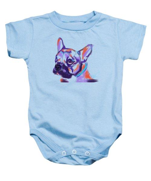 Baby Onesie featuring the painting Dog Reggie by Go Van Kampen