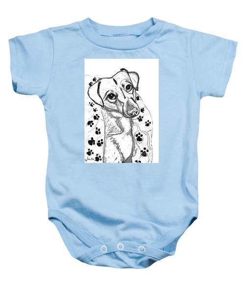 Dog Sketch In Charcoal 4 Baby Onesie