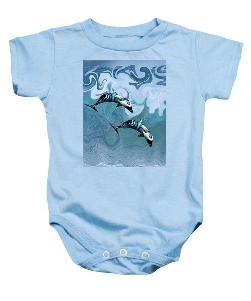 Dolphins Playing In The Waves Baby Onesie