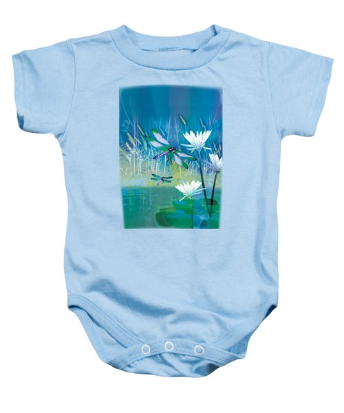 Dragonfleis On Blue Pond Baby Onesie