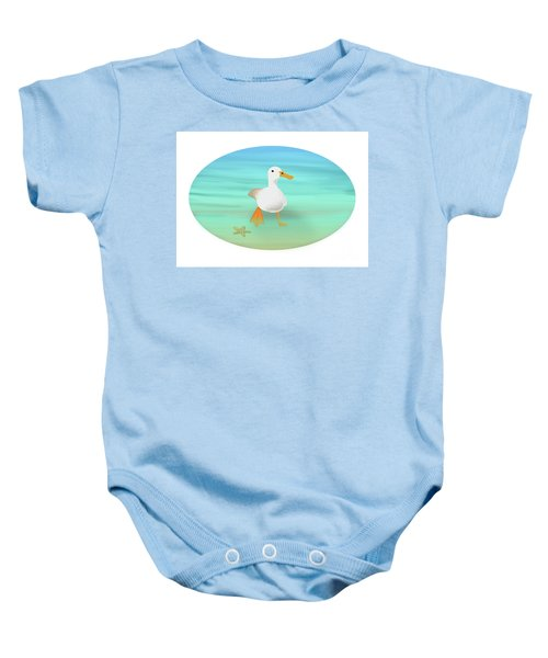 Duck Paddling At The Seaside Baby Onesie