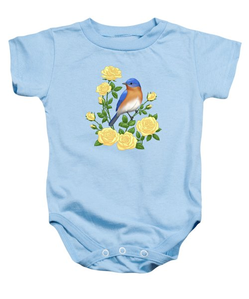 Eastern Bluebird And Yellow Roses Baby Onesie