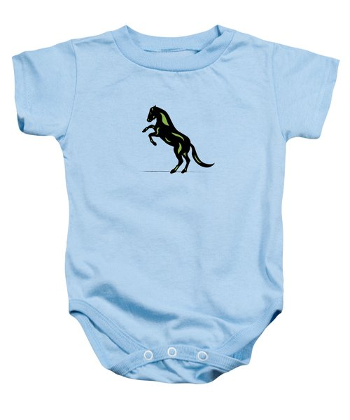 Emma - Pop Art Horse - Black, Greenery, Island Paradise Blue Baby Onesie