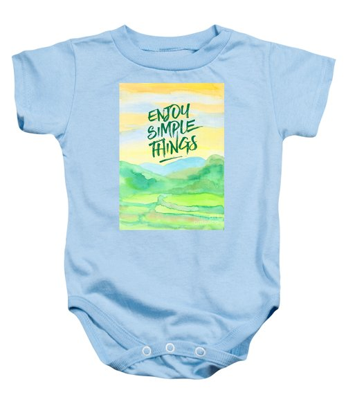 Enjoy Simple Things Rice Paddies Watercolor Painting Baby Onesie