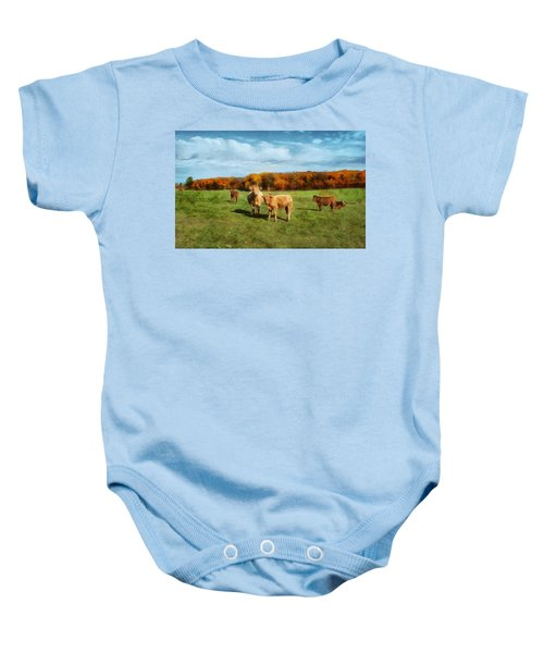 Farm Field And Brown Cows Baby Onesie