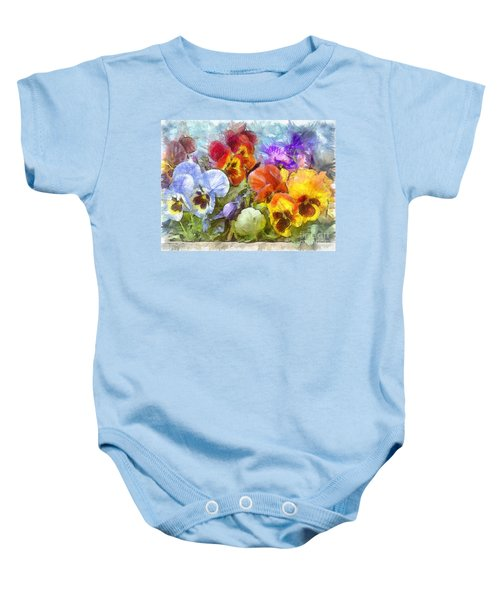 Flower Box Full Of Pansy Pencil Baby Onesie