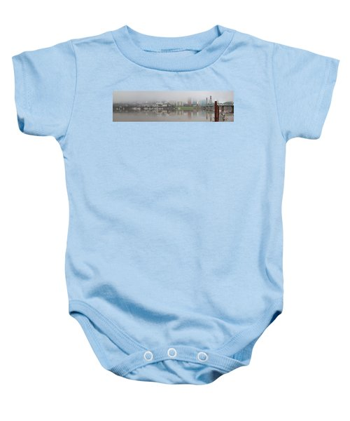 Foggy Day Along Portland Waterfront Panorama Baby Onesie