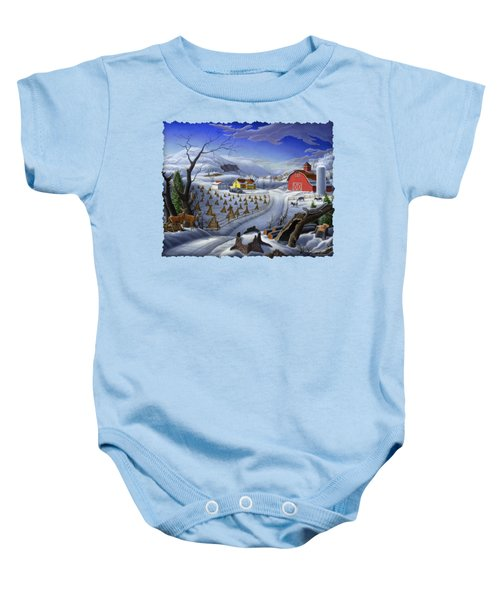 Folk Art Winter Landscape Baby Onesie by Walt Curlee