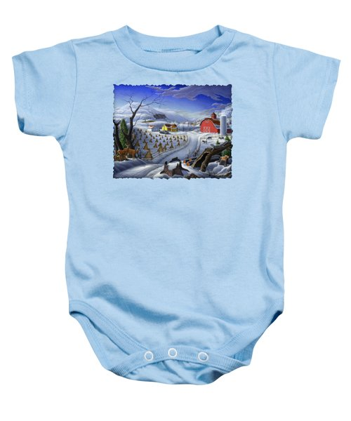 Folk Art Winter Landscape Baby Onesie