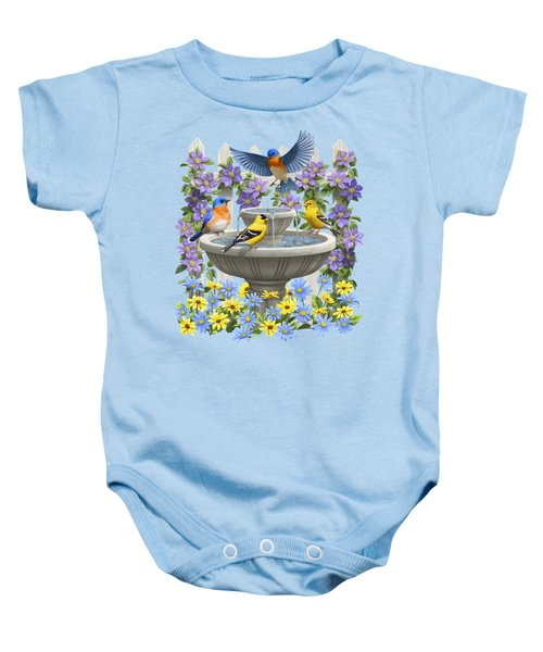 Fountain Festivities - Birds And Birdbath Painting Baby Onesie