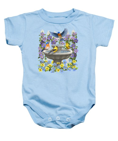 Fountain Festivities - Birds And Birdbath Painting Baby Onesie
