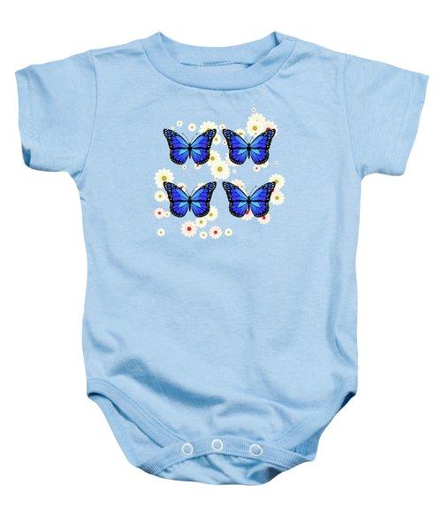 Four Blue Butterflies Baby Onesie
