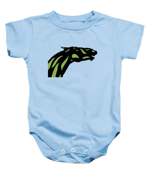 Fred - Pop Art Horse - Black, Greenery, Island Paradise Blue Baby Onesie