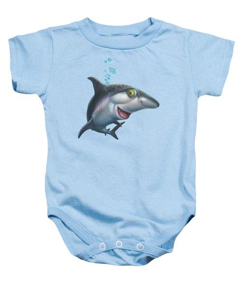 friendly Shark Cartoony cartoon under sea ocean underwater scene art print blue grey  Baby Onesie