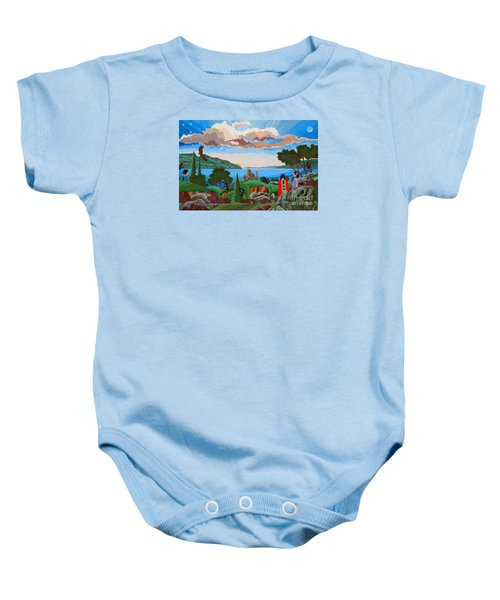 Baby Onesie featuring the painting From A High Place, Troubles Remain Small by Chholing Taha