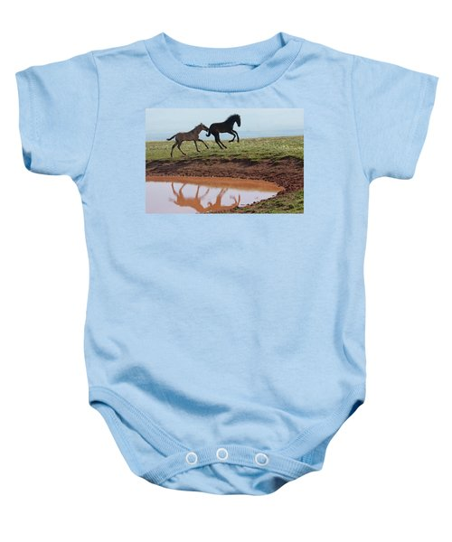 Fun In The Rockies- Wild Horse Foals Baby Onesie