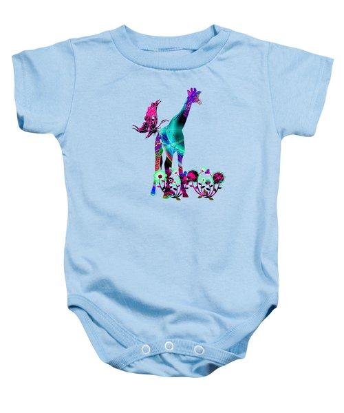 Giraffe And Flowers2 Baby Onesie