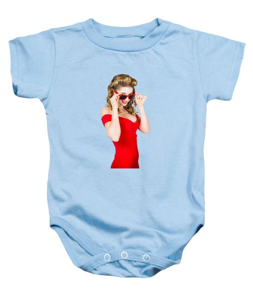 Girl Adjusting Glasses To Flashback A 1950s Look Baby Onesie