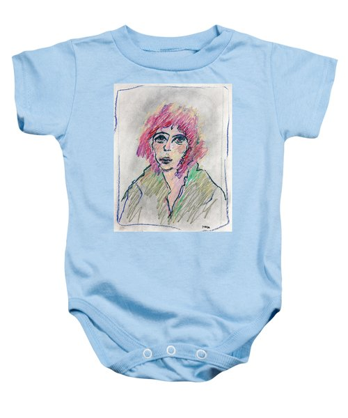 Girl With Pink Hair  Baby Onesie